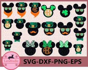 60 % OFF, Mickey and Minnie Mouse SVG, Patrick Monogram Svg, dxf,ai,eps,png,Silhouette, Digital Cutting Files, St Patricks Day SVG cut files