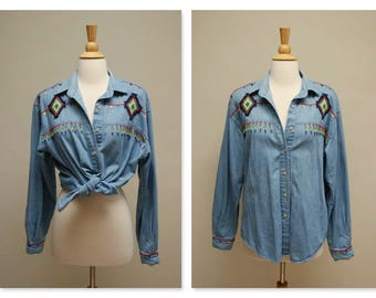 Vintage Denim Shirt ⎮ 1990s Boho Jean Top ⎮ Embroidered Aztec Tribal Ethnic Shirt