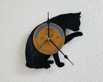 cat clock vinyl record