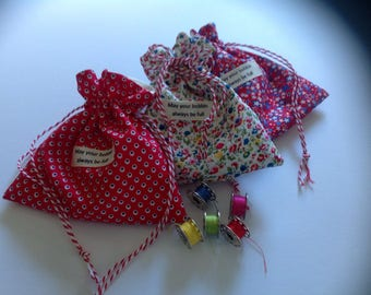 SEWING KIT. Mini Drawstring Bag.