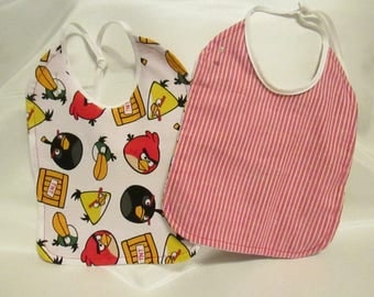 Angry Birds! Baby Bib. Red and White Striped backing. Handmade. 100% Cotton.