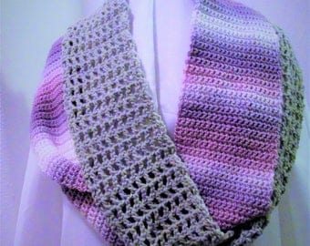 "Infinity Scarf! Pearly Unforgettable Red Heart Acrylic yarn. Variegated yarn: Lavender; Purple; Grey. 120"" long. 5"" wide. Stylish and warm!"