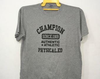 Rare!! Vintage 90's CHAMPION BigLogo Spellout Activewear Sportwear Tee Tshirt Grey Colour 4Large Size made in usa