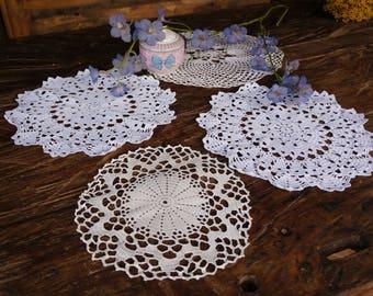 Vintage Crotchet Doilies 4 Coaster Doilies and Wedding doilies Flower doilies Granny's doilies cotton crotchet doilies Antique centrepiece