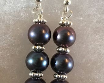 Purple/ Black 6mm Freshwater with pearl dangle earrings on Sterling Silver