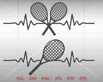 Heartbeat Tennis Racket SVG, Heartbeat Tennis Clipart Silhouette Cricut Cut File Commercial Use