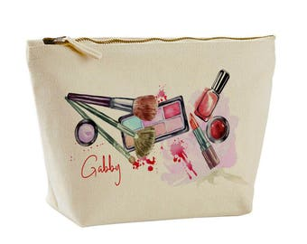Cosmetics Bag Wash Bag Canvas Make Up Bag Personalised Gifts for her
