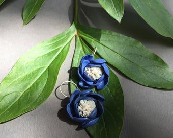 Blue & White Porcelain Flower Earrings with Silver Hooks, Handmade by GAIJA Jewelry