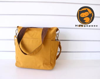 Sale - Mustard Yellow Canvas Bag - diaper bag, tote, purse, cross body bag, stylish - Luna