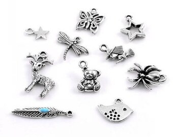 50 charms mixed shape antique silver