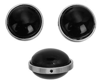 3 Moon acrylic black matte silver round beads