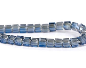 1 row square blue faceted blue glass beads & clear 3mm (100PCs/skewer