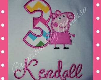 Peppa Pig Birthday Shirt/Peppa Pig Birthday/Peppa Pig Applique/Pig Applique/Peppa 3rd Birthday/Peppa Birthday/Numbers 1-9 Available