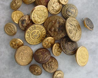Lot of 25 Vintage gold Military Buttons