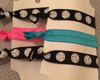 SALE!!! Volleyball Fold Over Elastic Hair Ties