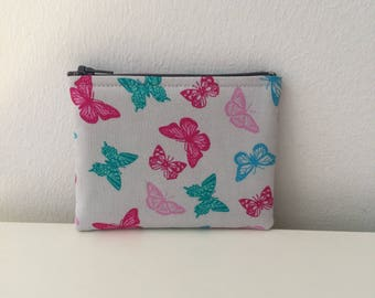 Purse Butterfly pink blue green grey fabric