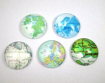 Set of 5 cabochons 25 mm - world maps - 1