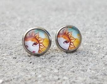 Rising Sun Sky Glass Cabochon Stud Earrings