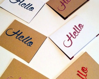 Pack of 10 glitter Hello cards