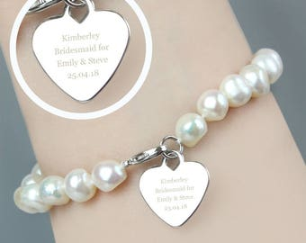 Personalised Womens Freshwater Pearl Heart Bracelet, Engraved Gift For Her, Birthday, Anniversary, Christmas,