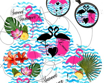 Digital IMAGES for cabochons jewelry exotic Flamingo-collage-download-clipart