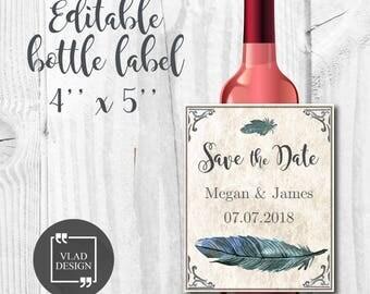 Editable PDF Save the date wine bottle label, Watercolor wedding bottle sticker, Watercolor wrapper,Custom wine bottle sticker,alcohol label