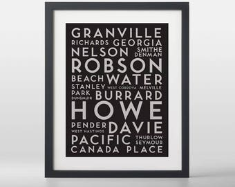 Vancouver Downtown City Streets Typography Art Print