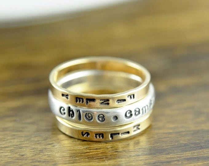 10% off SALE Personalized Gold Ring, Kids Names Rings, Mommy Ring, Name Ring, Custom Name Ring, Gold Ring, Hand Stamped Ring, Personalized R