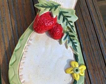 Stoneware Clay Strawberry Spoon Rest