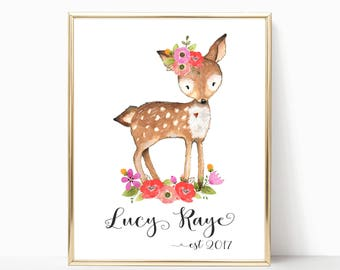 Personalized Baby Gift, Personalized Nursery Print, Custom Name Baby Gift, Cute Deer Nursery Wall Art or Baby Book Page, Nursery wall art.