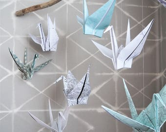 Origami Crane Driftwood Mobile, baby shower, new baby, personalised, music sheets, wedding vow, maps, unique gift, anniversary, wedding gift