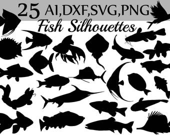 "SVG Fish clipart: ""FISH  SILHOUETTES"" Black fish clipart,Silhouettes stickers,dxf files,Cut Files,Nautical svg,Fish cut file,Fish shape"