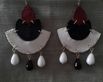 bordeaux, black and white leather earrings