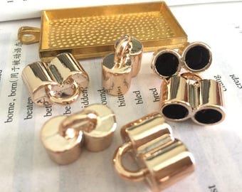 wholesale 100pieces gold plastic 16mmx18mm(inner double hole 6.5mm)tassel caps/end caps/cord caps/cord findings