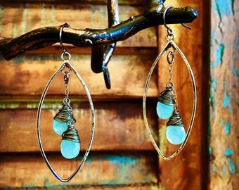 Aqua Chalcedony Oval Duo Earrings