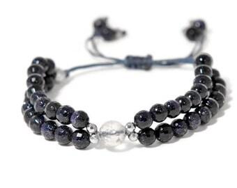 Azzura * Glamorous Bluesand Two Strand Bracelet with adjustable pull cord closure