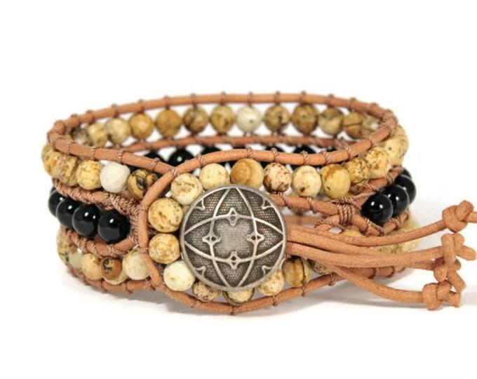 Boho Ivone * 3 strand Wrap Bracelet. Boho Style. Bohemian Jewelry. Semiprecious stones. Gift for her. Cuff Bracelet.