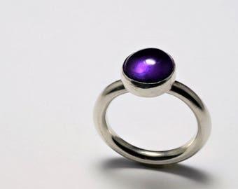 Amethyst Ring 10mm cabochon