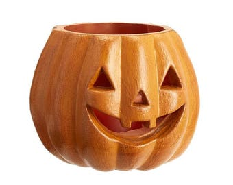 Halloween Jack O'Lantern Luminary Medium Orange Wax Pumpkin Lantern