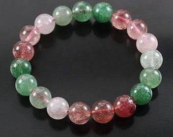 Rutilated Quartz Bead Bracelet Natural Polished Strawberry and Green Gemstone Jewelry CIE50