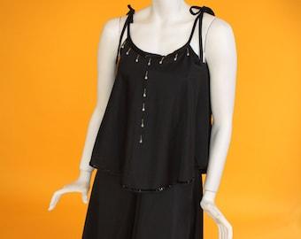 Vintage 1970's 'Spinney' Black Jersey Sequin and Bead Embellished Disco/ Evening Dress UK 8 US 4
