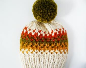autumn slouch beanie, autumn beanie with pom, fall toque, fall beanie, green orange yellow beanie. womens fall hat, chunky fall hat