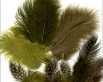 18 marabou feathers and Guinea fowl colorful 7 / 11 cm green tones