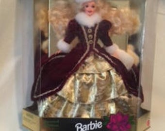 Vintage Barbie Happy Holidays 1996 NRFB  Maroon Gown