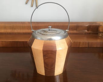 Mid Century Teak Ice Bucket 1960s Vintage Retro Bar Accessory