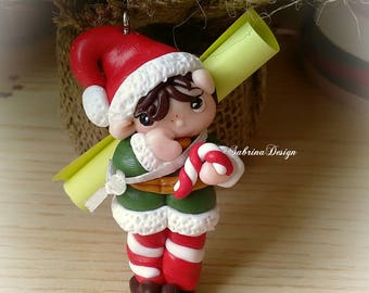 Elf on the shelf polymer clay charm Christmas tree ornament special miniature gift