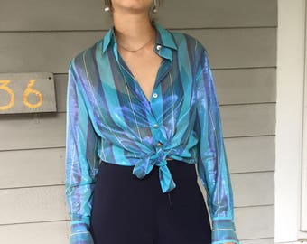 Vintage 90s Teal Striped Sheer Cotton Voile Ellen Tracy Blouse | L