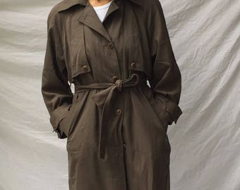 90s Belted Trench Coat Olive Green   S/M 4/6