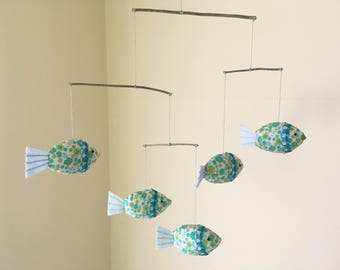 Fish mobile,Five Fish mobile,Fish Nursery Decor,Baby Mobile,Fish Mobile Blue Flower