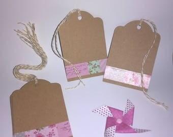 (Set of 10) - natural - pink and Kraft gift tag